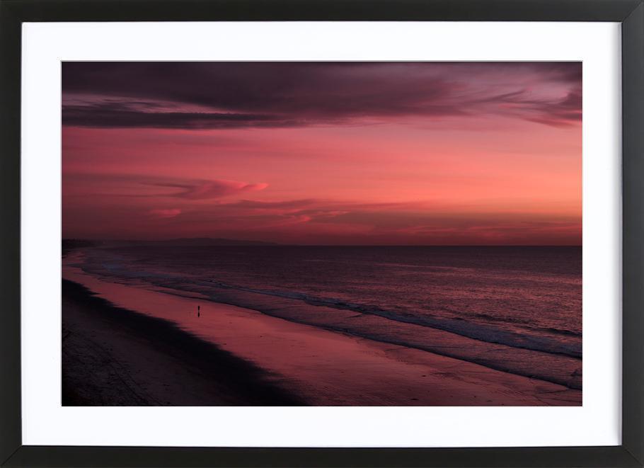 Sunset Walker -Bild mit Holzrahmen