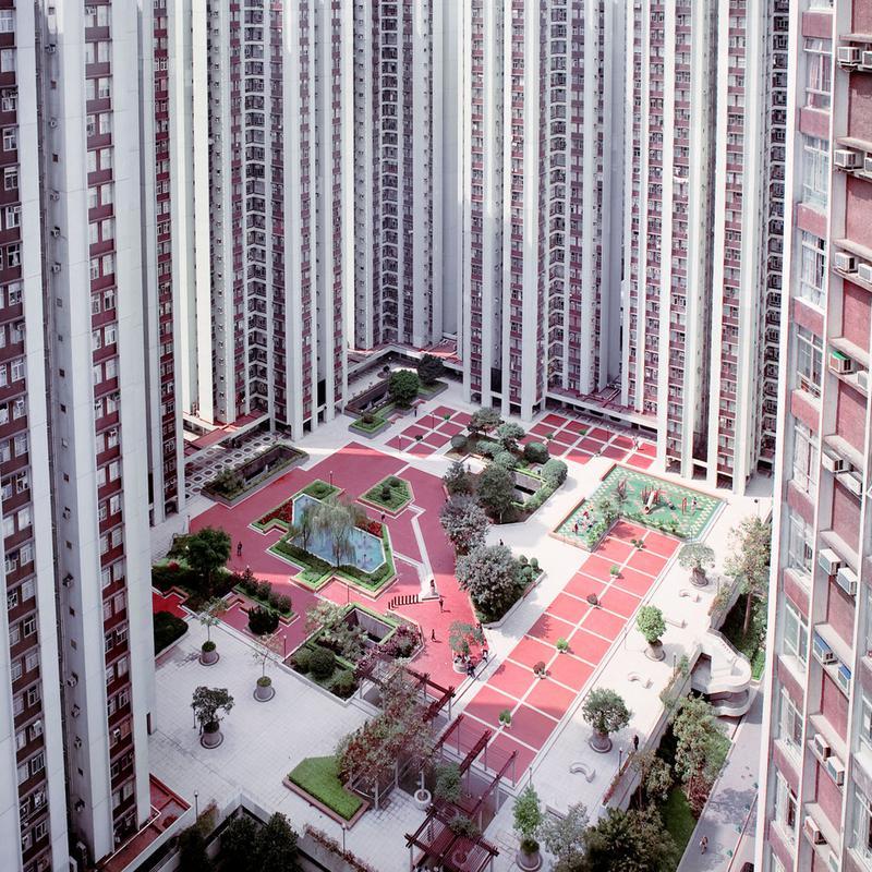 Hong Kong Buildings Courtyard Alu Dibond Druck   Dekoration > Bilder und Rahmen > Poster
