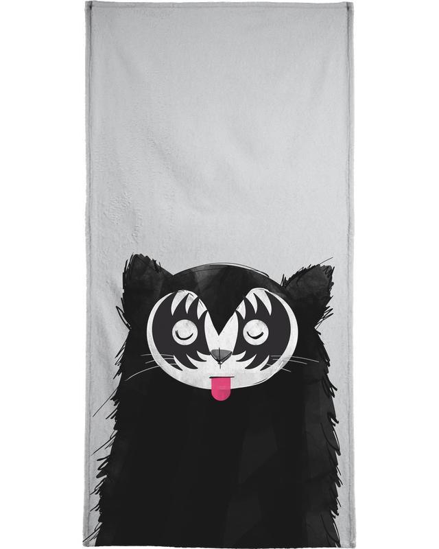 Cat Rock On Bath Towel
