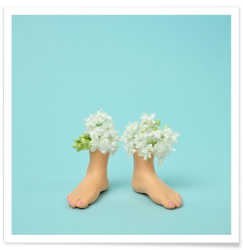 Feet Vase Lilacs Premium Poster | Dekoration > Bilder und Rahmen > Poster | Mehrfarbig