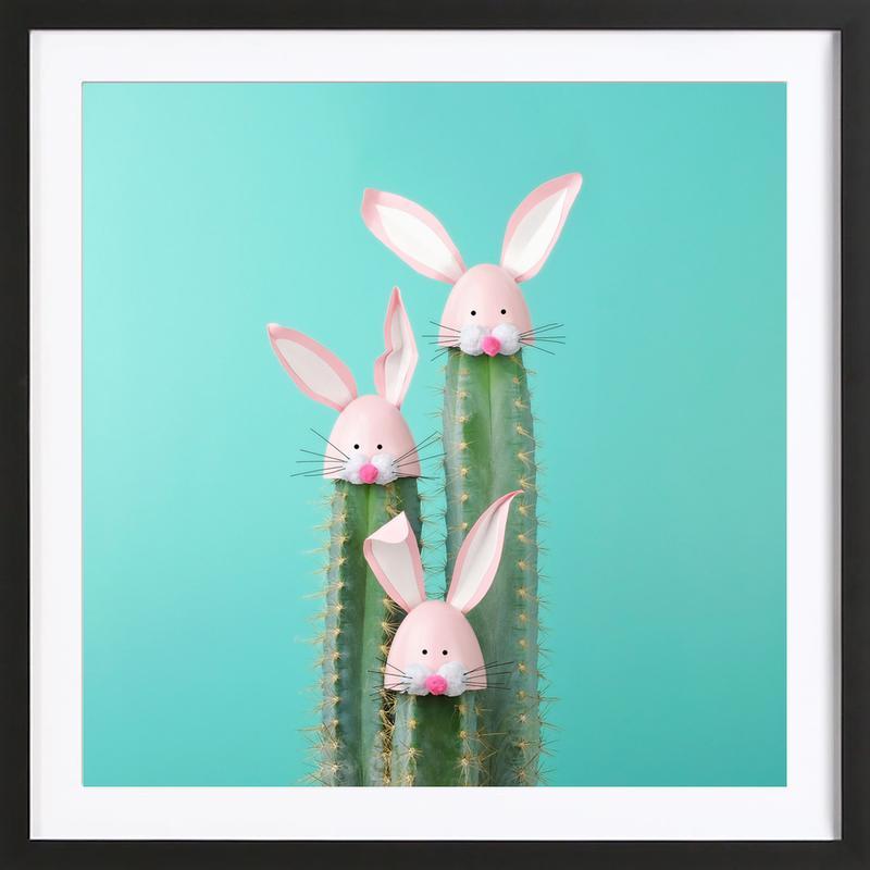 Bunny Cactus affiche sous cadre en bois