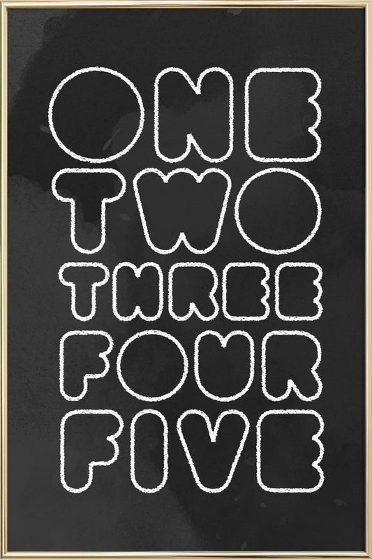One Through Five Poster im Alurahmen
