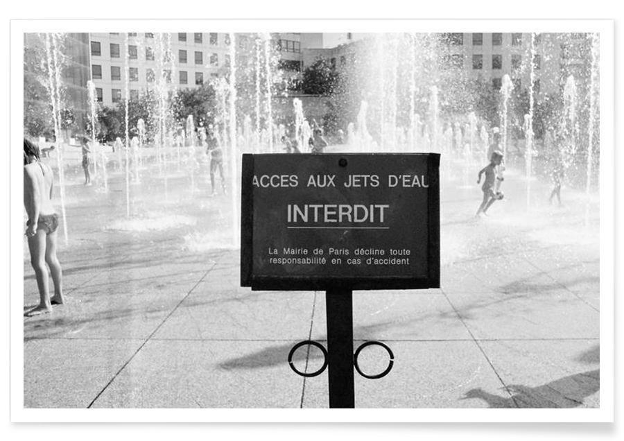 Jet interdit black & white affiche
