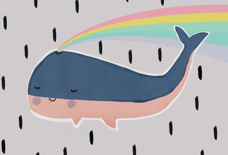 Happy Whale Aluminium Print