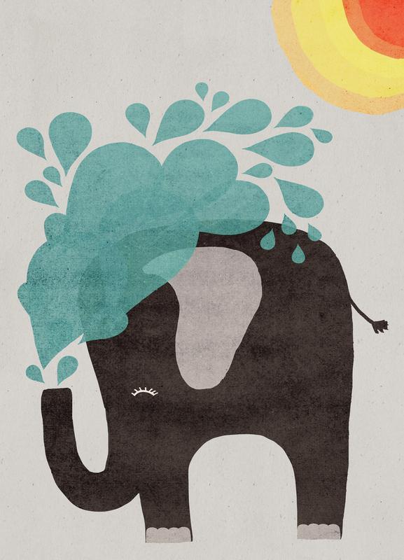 Funny Elephant 2 Leinwandbild | Dekoration > Bilder und Rahmen > Bilder | Mehrfarbig | Holz
