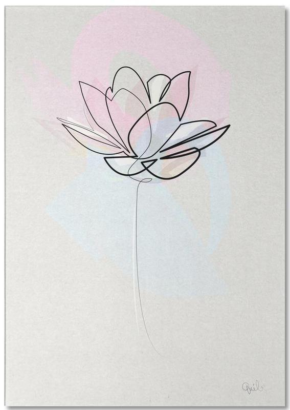 One Line Lotus -Notizblock