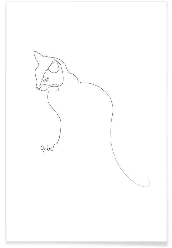 Cat Line Drawing Poster