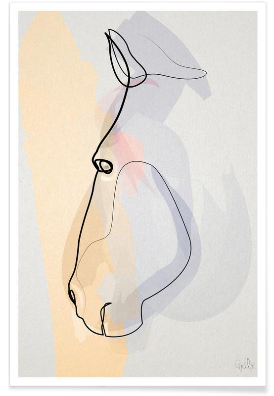 Horse Face Line Drawing Poster