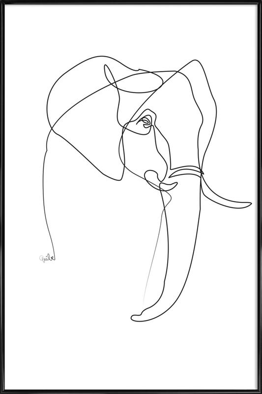 Elephant Line Gerahmtes Poster | Dekoration > Bilder und Rahmen > Poster | Mehrfarbig