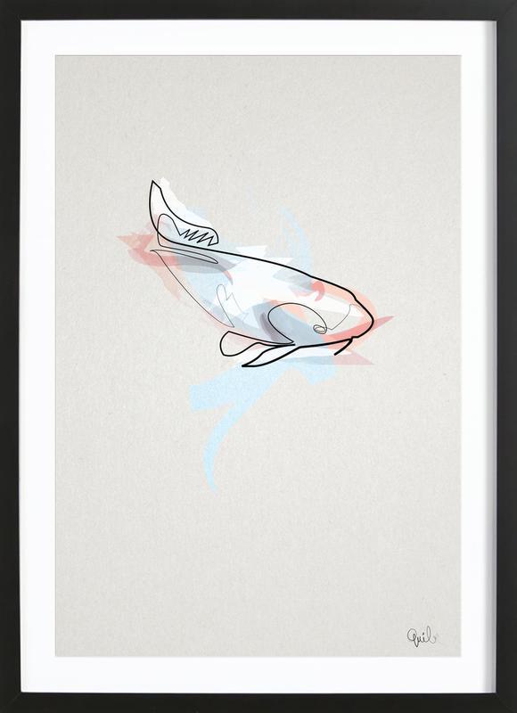 One Line Koi Fish Framed Print