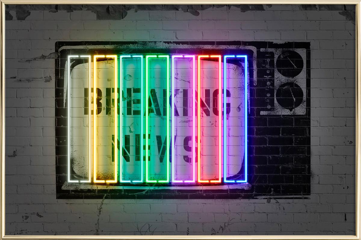 Breaking News Poster im Alurahmen