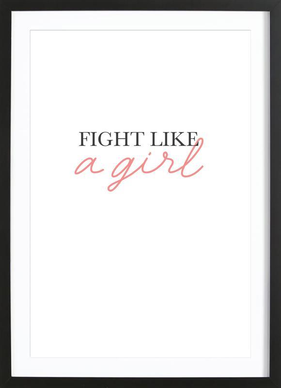 Fight Like A Girl -Bild mit Holzrahmen