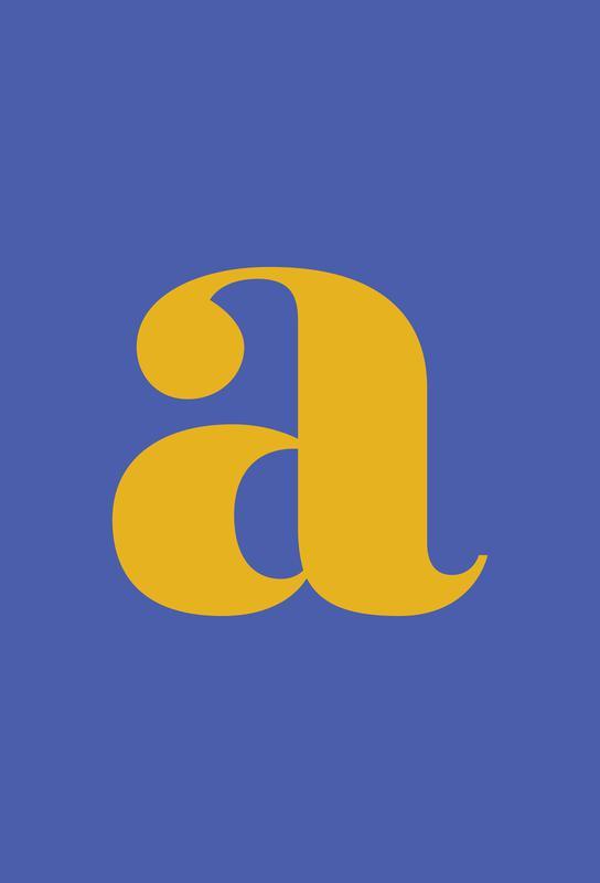 Blue Letter A Aluminium Print