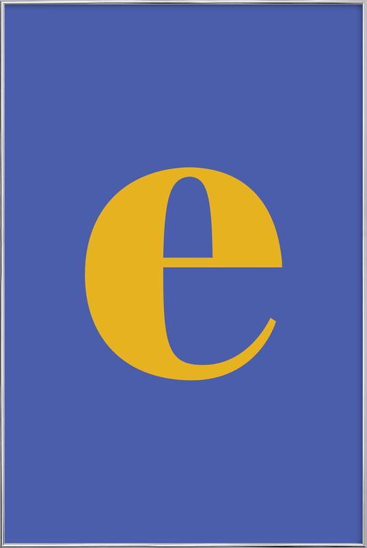 Blue Letter E -Poster im Alurahmen
