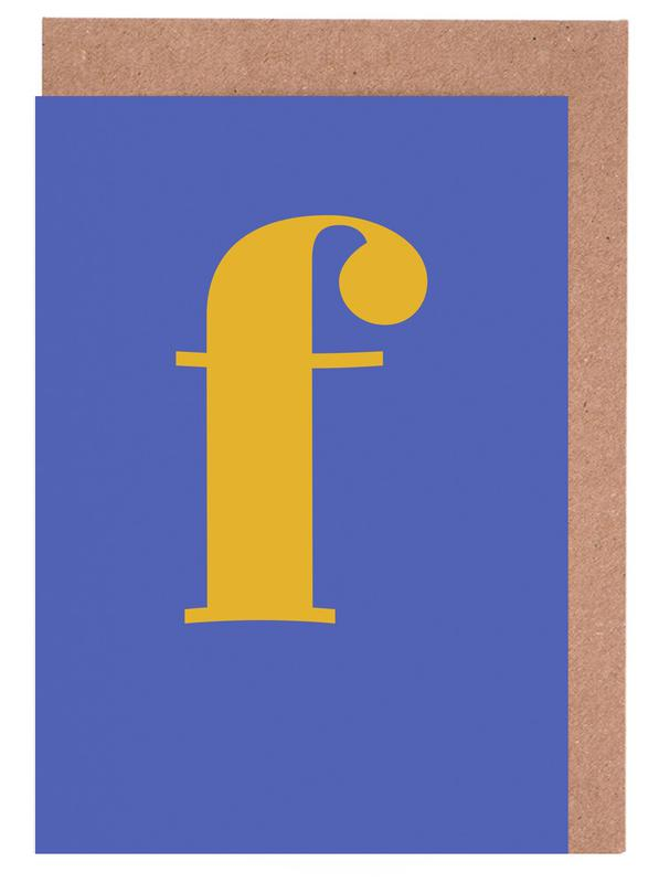 Blue Letter F Greeting Card Set