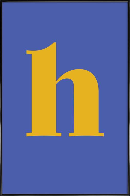 Blue Letter H -Bild mit Kunststoffrahmen