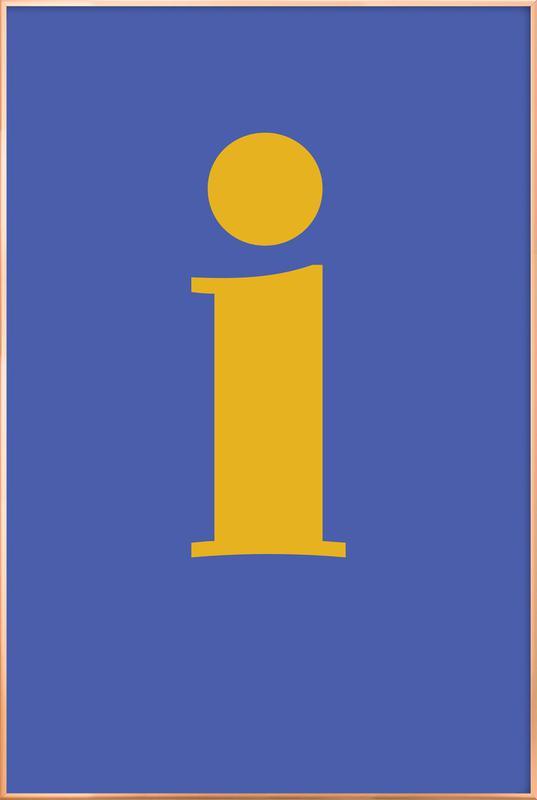 Blue Letter I -Poster im Alurahmen