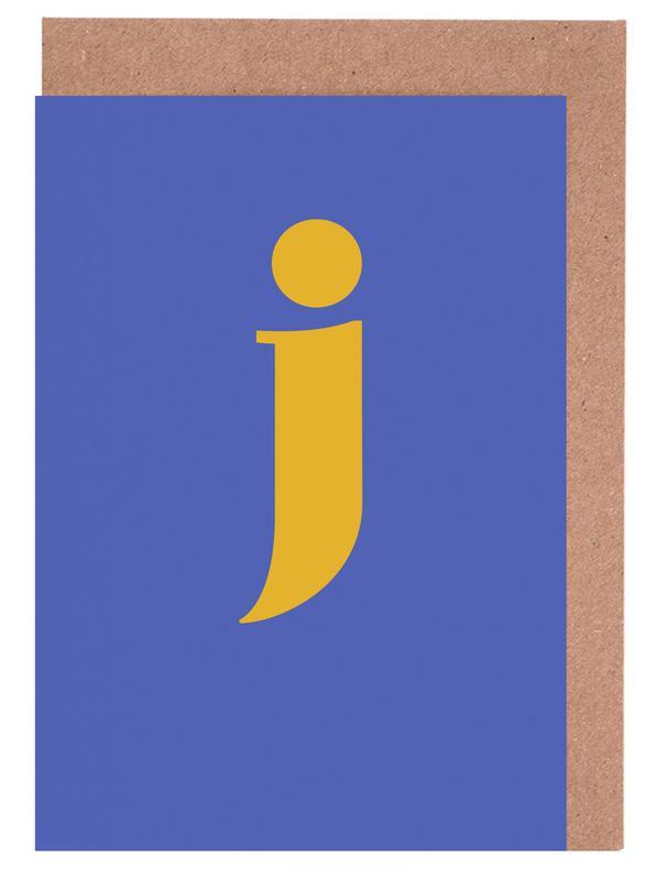 Blue Letter J Greeting Card Set