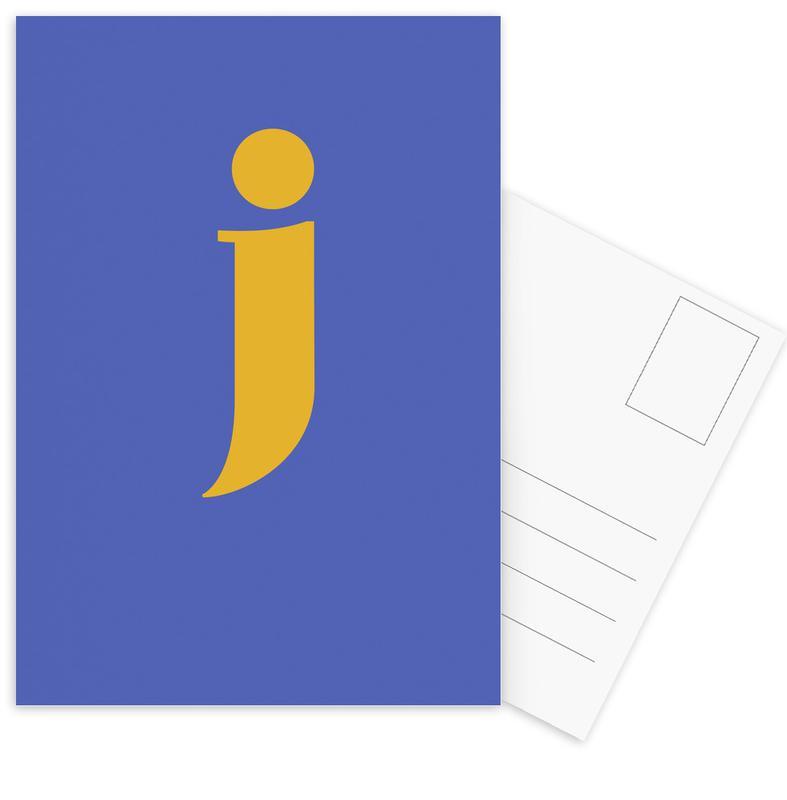 Blue Letter J -Postkartenset