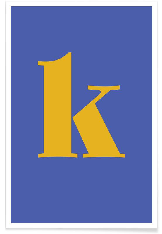 Blue Letter K poster