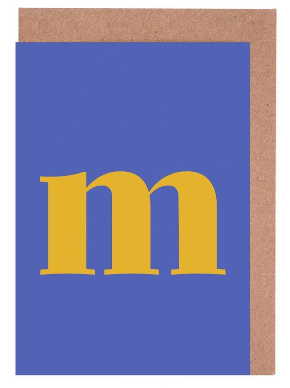 Blue Letter M -Grußkarten-Set