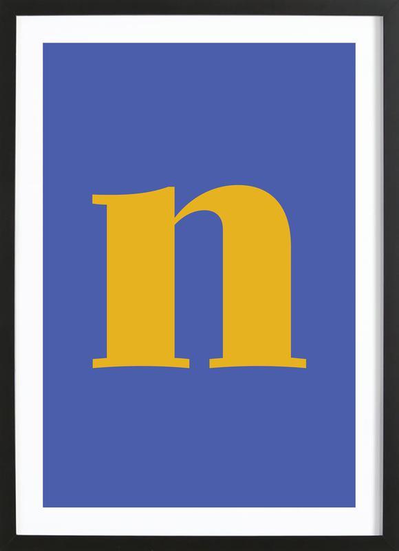 Blue Letter N Framed Print