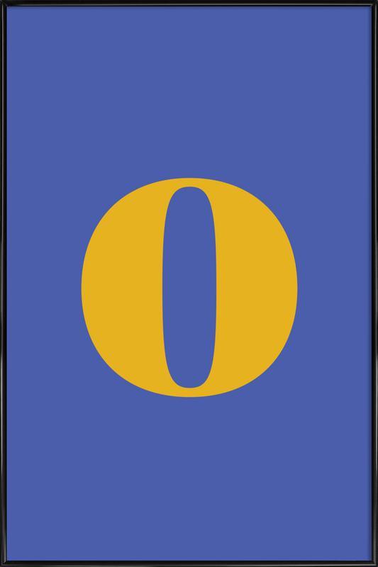 Blue Letter O -Bild mit Kunststoffrahmen