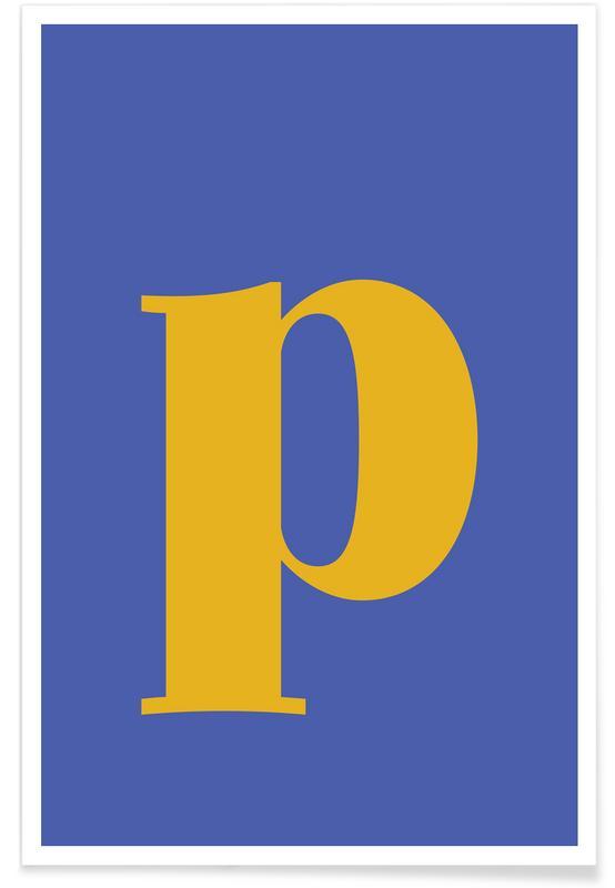 Blue Letter P -Poster