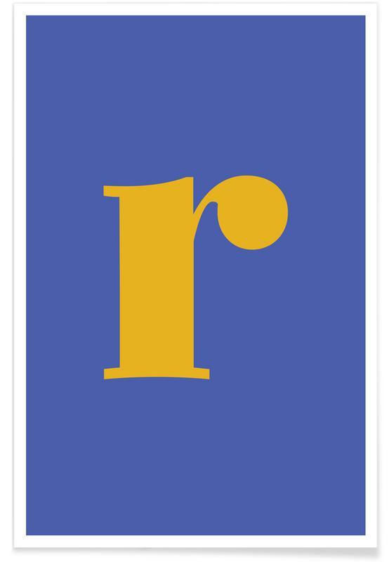 Blue Letter R -Poster
