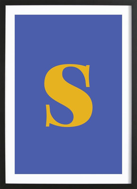 Blue Letter S -Bild mit Holzrahmen