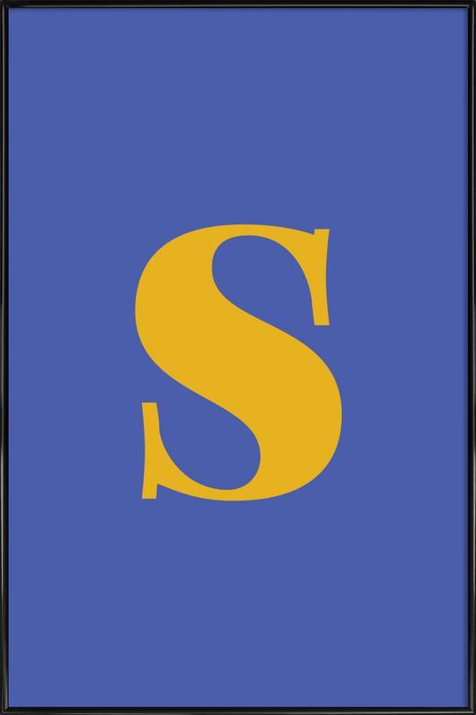 Blue Letter S Framed Poster
