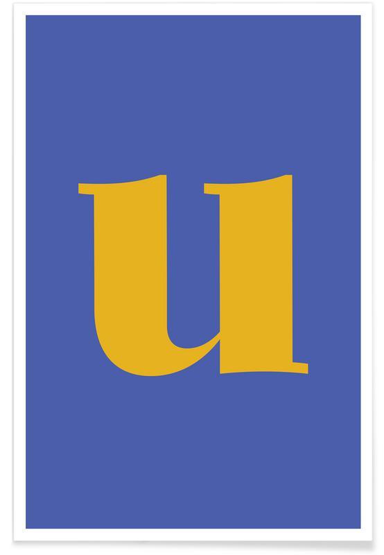 Blue Letter U poster