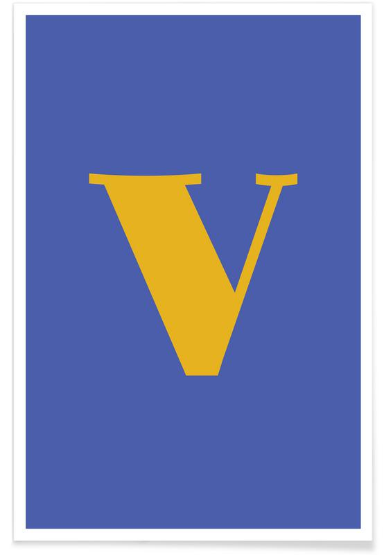 Blue Letter V poster