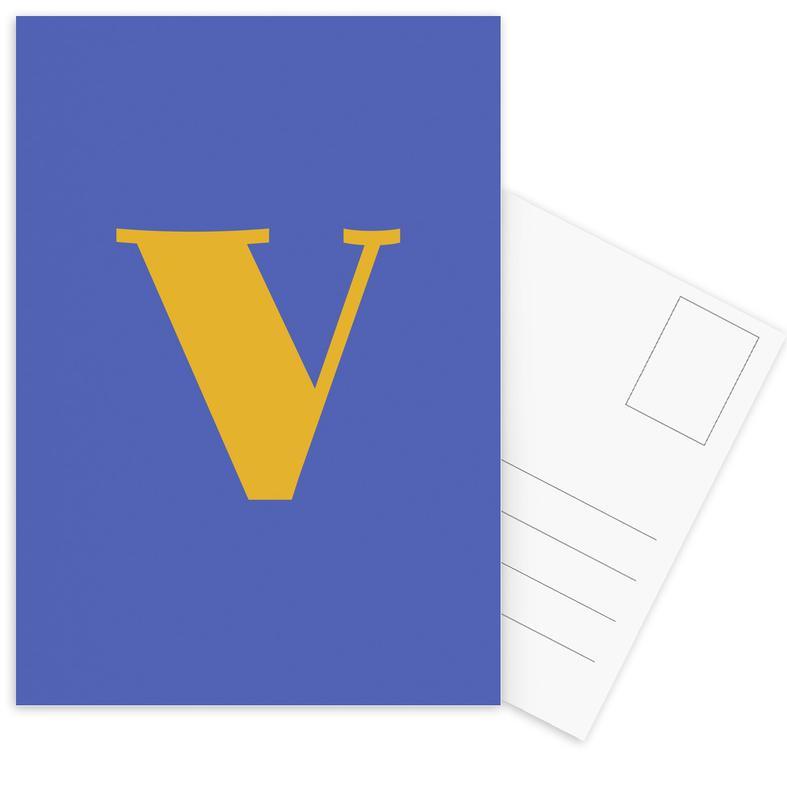 Blue Letter V Postcard Set