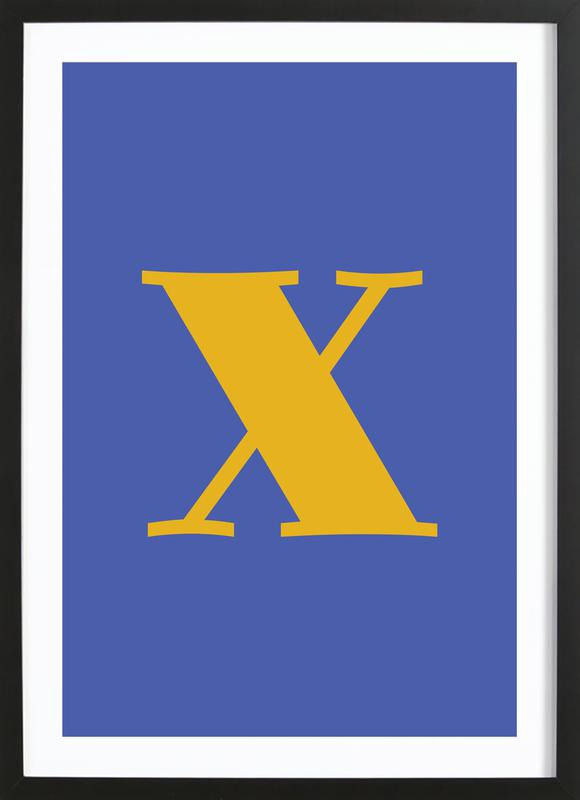 Blue Letter X -Bild mit Holzrahmen