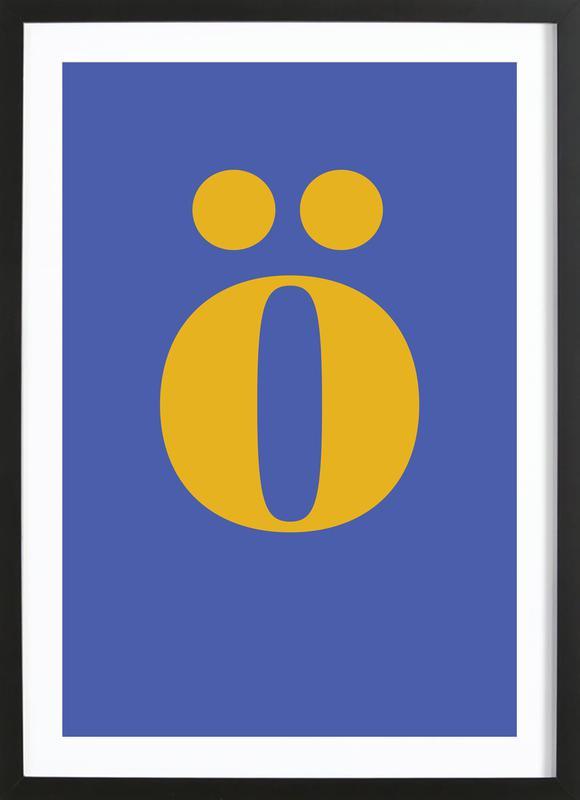 Blue Letter ö -Bild mit Holzrahmen