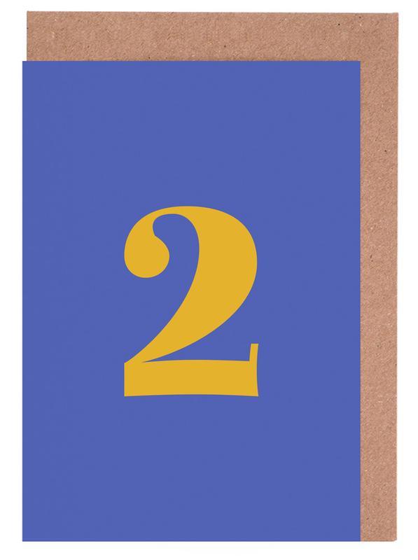 Blue Number 2 Greeting Card Set