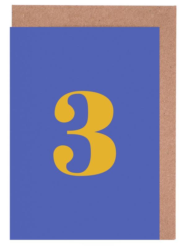 Blue Number 3 -Grußkarten-Set