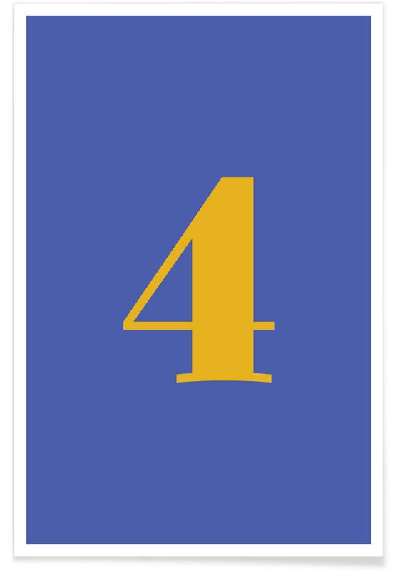 Blue Number 4 -Poster