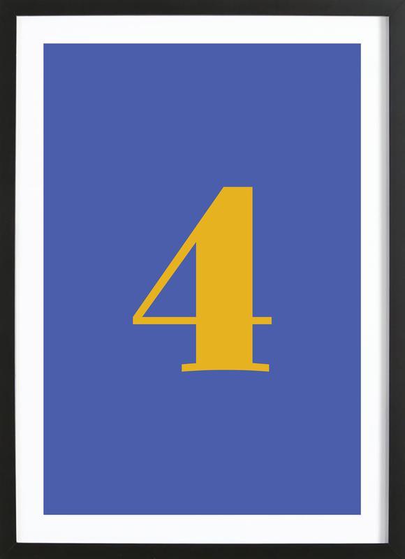 Blue Number 4 -Bild mit Holzrahmen