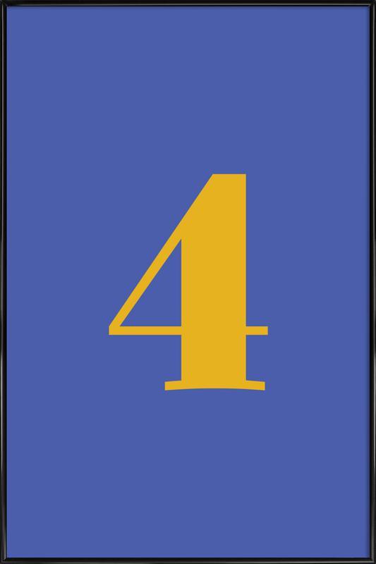 Blue Number 4 -Bild mit Kunststoffrahmen