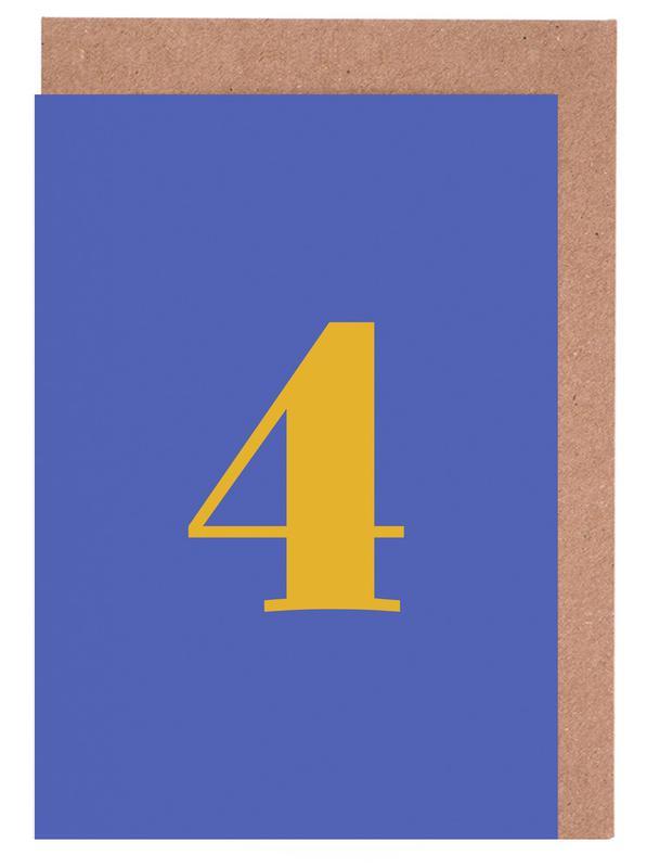 Blue Number 4 -Grußkarten-Set