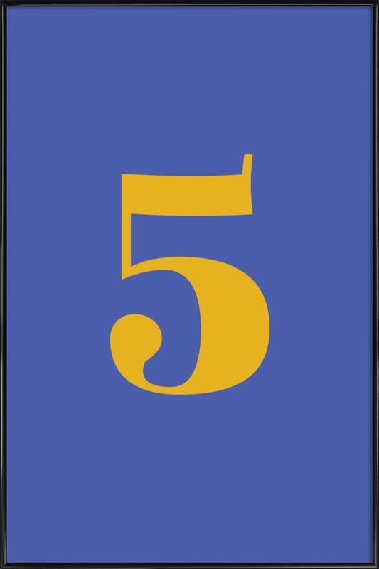 Blue Number 5 -Bild mit Kunststoffrahmen