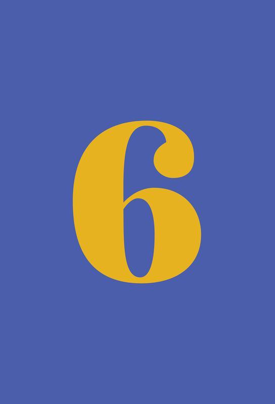 Blue Number 6 Aluminium Print