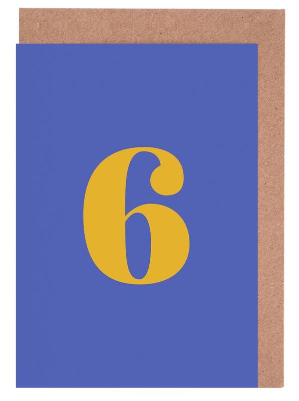 Blue Number 6 -Grußkarten-Set