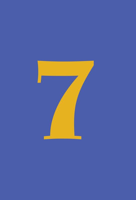Blue Number 7 -Acrylglasbild