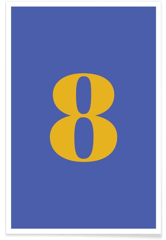 Blue Number 8 -Poster