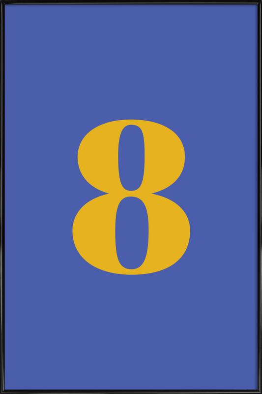 Blue Number 8 -Bild mit Kunststoffrahmen