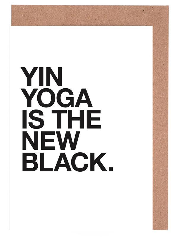 Yin Yoga black Greeting Card Set