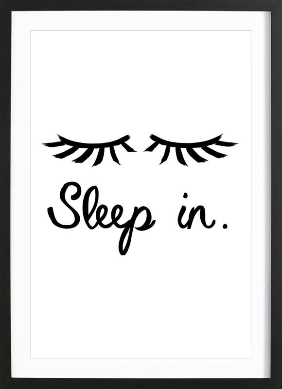 Sleep In -Bild mit Holzrahmen